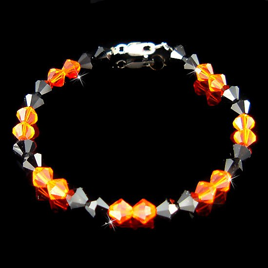 Swarovski Crystal Halloween Pumpkin Orange Spooky Black Bracelet