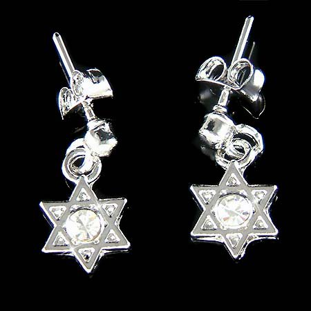 Hanukkah Jewish Swarovski Crystal Star Of David Judaism Earrings