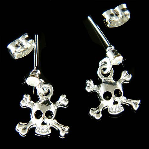 Swarovski Crystal Skull Crossbones Hip Hop Pierced Earrings