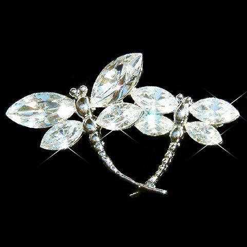 Swarovski Crystal Clear Dragonfly Brooch for Wedding Gown Dress