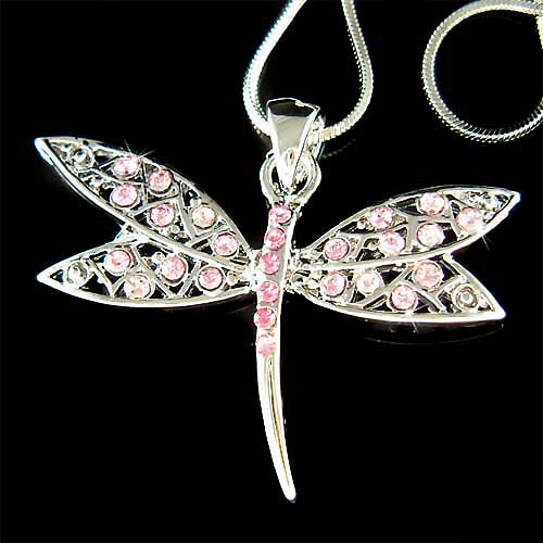 Swarovski Crystal Pink Filigree Dragonfly Pendant Chain Necklace