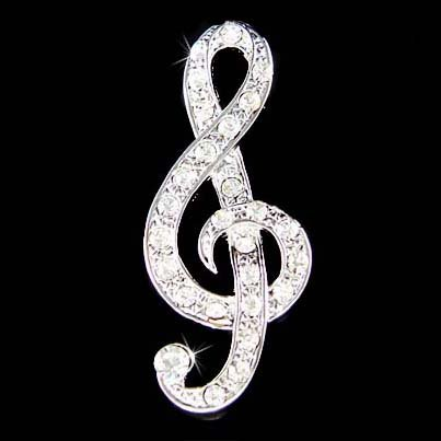 Treble G Clef Music Note Swarovski Crystal Musical Brooch