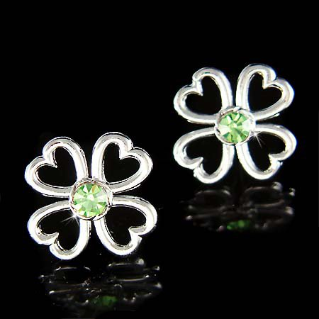 Swarovski Crystal Lucky 4 Leaf Green Clover Shamrock Earrings