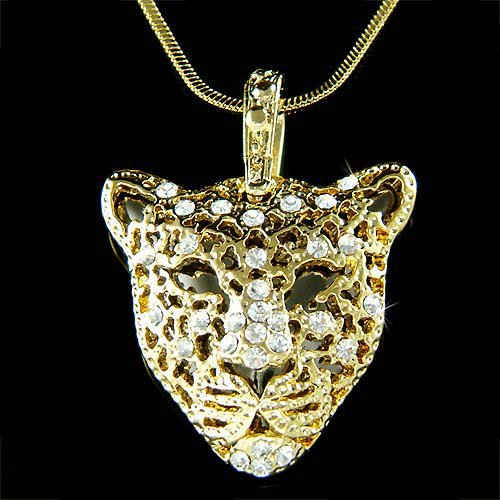 Gold Swarovski Crystal Leopard Tiger Jaguar Pendant Necklace