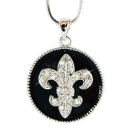 French Swarovski Crystal Black Enamel Fleur de Lis Lys Necklace