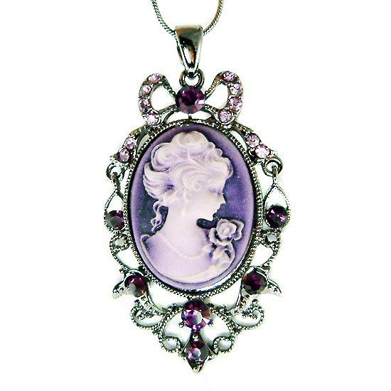 Victorian Swarovski Crystal Purple Cameo Antique Chain Necklace