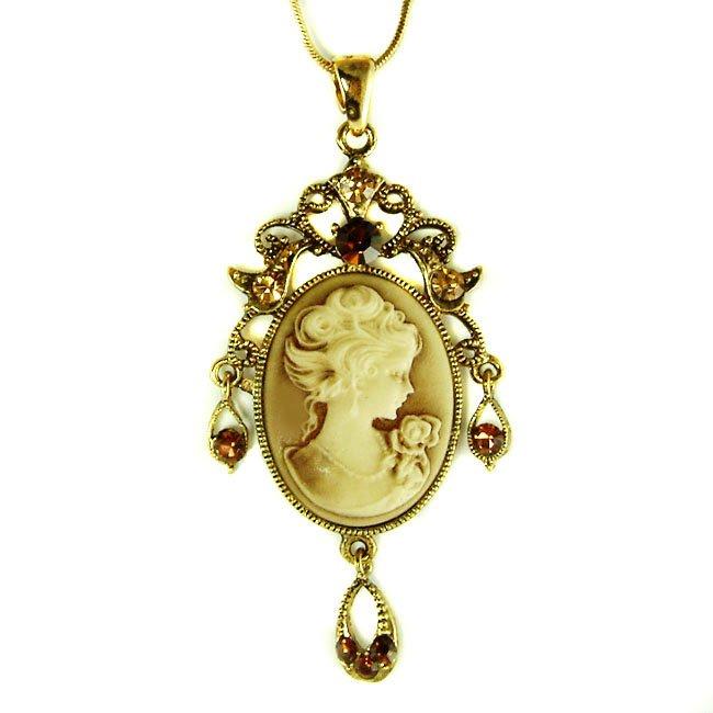 Elegant Victorian Swarovski Crystal Gold Cameo Pendant Necklace