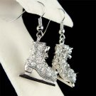 3D Skiing Hockey Swarovski Crystal Ice Skating Skate Earrings