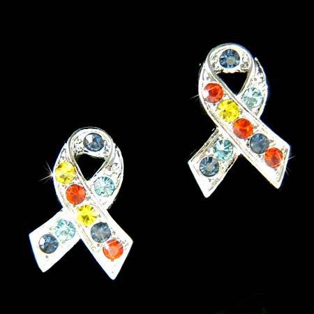 Autism Asperger Awareness Ribbon Swarovski Crystal Stud Earrings