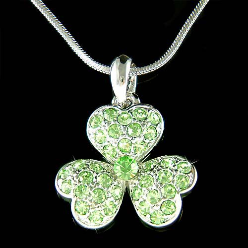 Swarovski Crystal Irish Ireland 3 Leaf Clover Shamrock Necklace