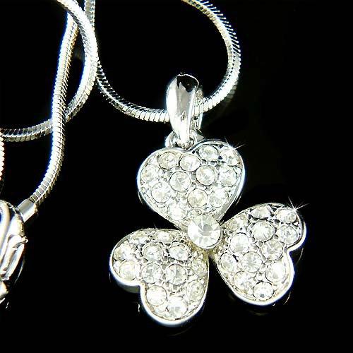 Swarovski Crystal 3 Leaf Clover Irish Ireland Shamrock Necklace
