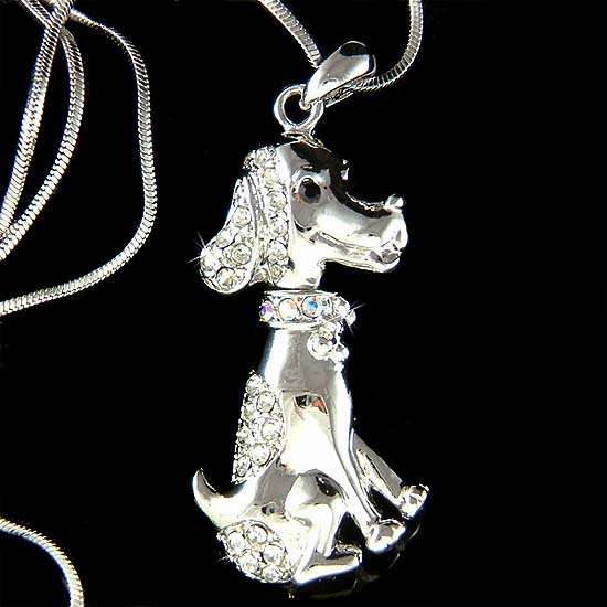 Swarovski Crystal Hound Beagle Wirehaired Vizsla Dog Necklace