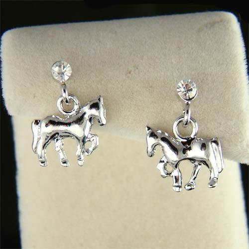 Swarovski Crystal Western Equestrian Horse Mustang Stud Earrings