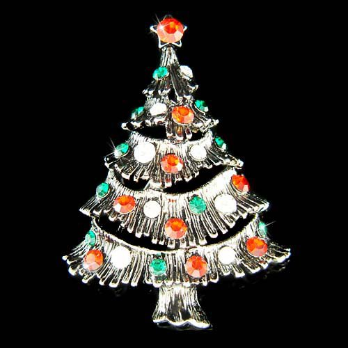 Holiday Swarovski Crystal Christmas Tree Star Topper Brooch