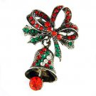 Swarovski Crystal Jingle Bell Red Green Bow X'mas Holiday Brooch