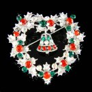 X'mas Heart Holly Wreath Jingle bell Swarovski Crystal Brooch