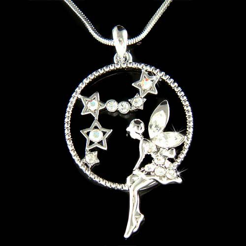 Tinkerbell Fairy Angel Girl Moon Star Swarovski Crystal Necklace