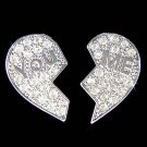 Swarovski Crystal You & Me Best Friends Heart Lover Earrings