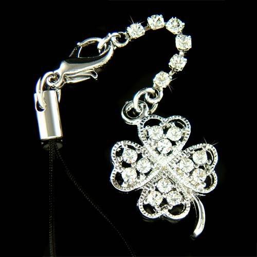 Swarovski Crystal Four Leaf Clover Lucky Cell Phone Charm Strap