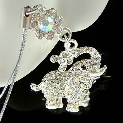 Swarovski Crystal Lucky Elephant Flower Cell Phone Charm Strap