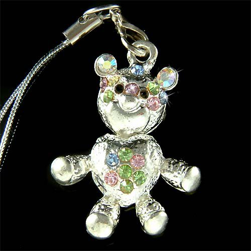 Swarovski Crystal Dangle Teddy Bear Cell Phone Charm Strap