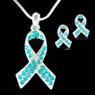 Swarovski Crystal Ovarian Cancer Ribbon Necklace Earrings Set