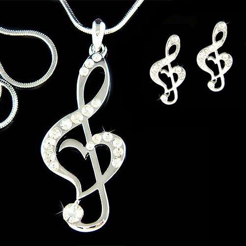 Swarovski Crystal Heart Treble Clef Music Note Necklace Earrings