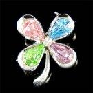 Irish Swarovski Crystal Pastel 4 Leaf Lucky Clover Flower Brooch
