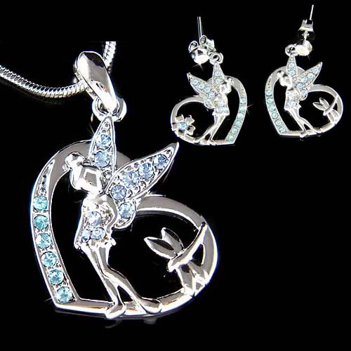 Swarovski Crystal Tinkerbell Dragonfly Heart Necklace Earrings