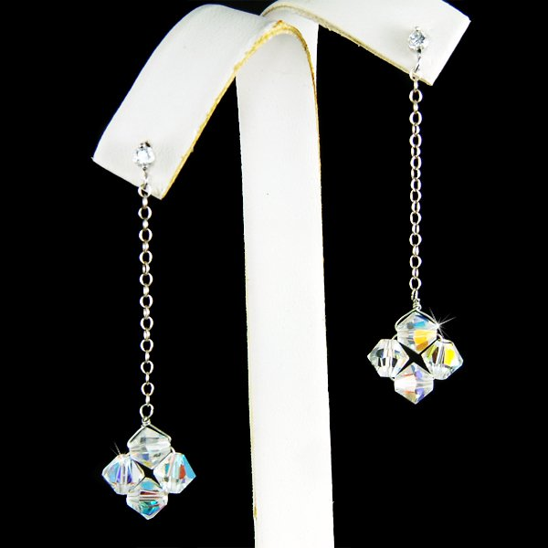 Simple Swarovski Crystal Floating Star Flower Bridal Earrings