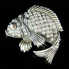 Swarovski Crystal Black Fish Brooch for Fishing Lover