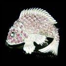 Swarovski Crystal Purple Fish Brooch for Fishing Lover