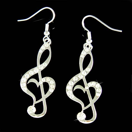 Swarovski Crystal Heart Treble Clef Music Note Pendant Earrings