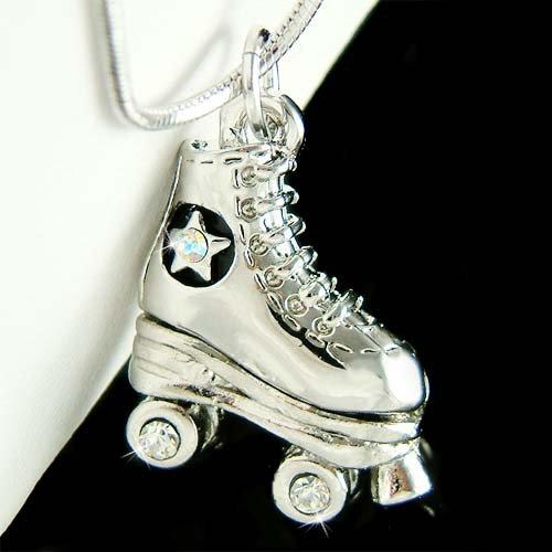 3D Swarovski Crystal Roller Skate Skates Shoes Pendant Necklace
