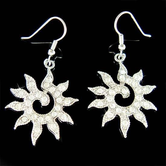 Swarovski Crystal Sun Goddess Sunshine Sunburst Pendant Earrings