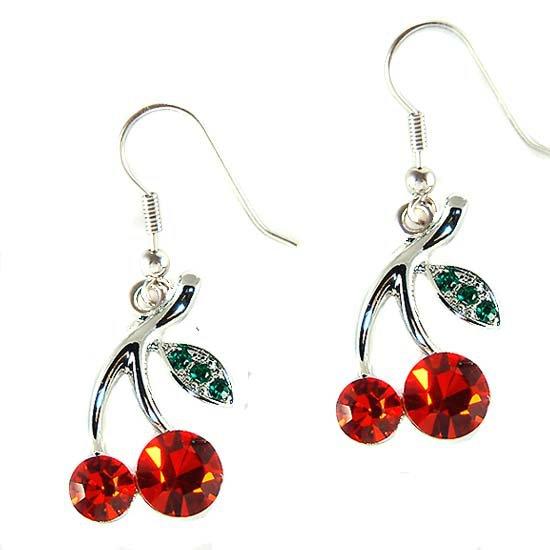 Swarovski Crystal Juicy Fruit Sexy Hot Red Cherry Earrings