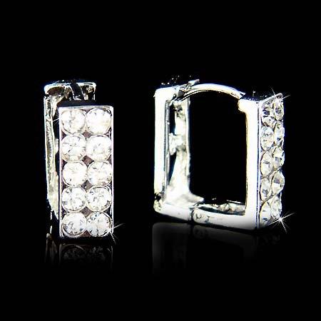 Swarovski Crystal Double Two Row Rectangle Huggie Hoop Earrings