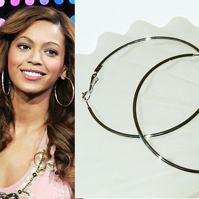 "3 1/8"" (80mm) Huge Celebrity White Gold-Plated Hoop Earrings"