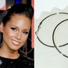 "3 1/2"" (90mm) Huge Celebrity White Gold-Plated Hoop Earrings"