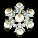 Bridal Wedding Floral Swarovski Crystal Pearl Flower Pin Brooch