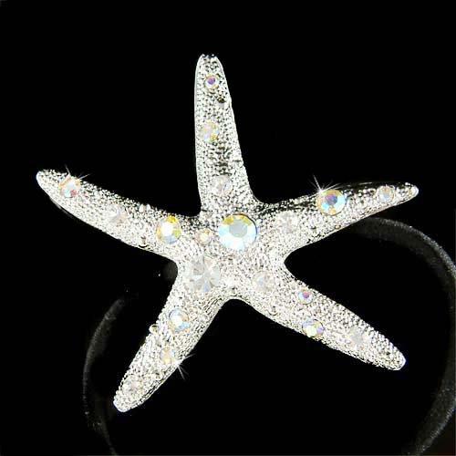 Beach Wedding Swarovski Crystal Big Starfish Ponytail Hair Band
