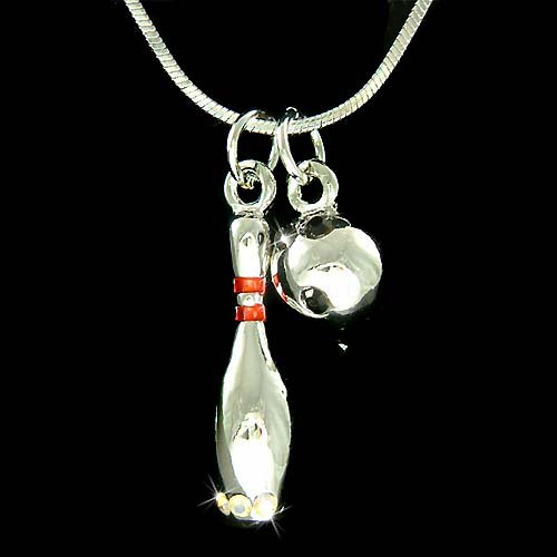 3D Bowling Pin & Bowling Ball Swarovski Crystal Pendant Necklace