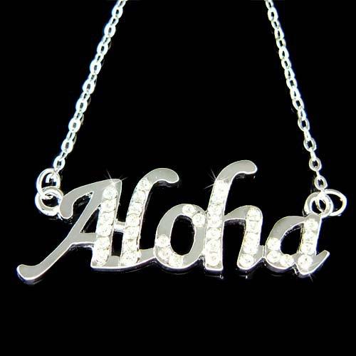 Swarovski Crystal Aloha Hawaiian Love Peace Welcome Necklace