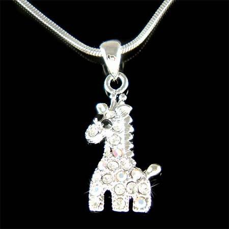 Swarovski Crystal Giraffe Zoo Safari Animal Charm Girls Necklace