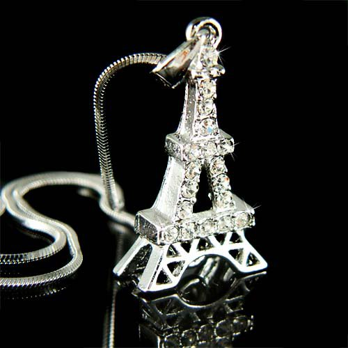 Paris Swarovski Crystal Eiffel Tower Souvenir Pendant Necklace