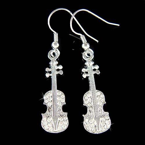 New Swarovski Crystal Violin Viola Cello Fiddle Musical Earrings