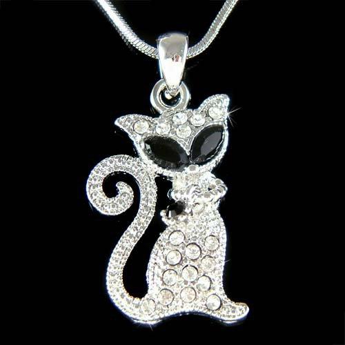 Swarovski Crystal Black Kitty Cat Pendant Animal Charm Necklace