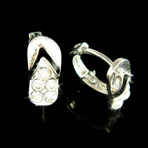 Swarovski Crystal Beach Sandal Flip Flop Huggie Hoop Earrings