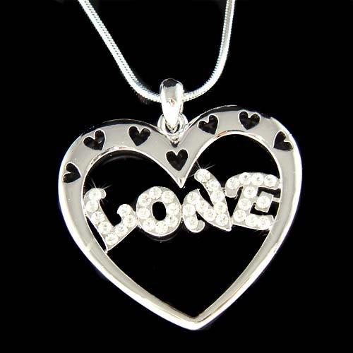 Swarovski Crystal Valentine Open Love Heart Pendant Necklace
