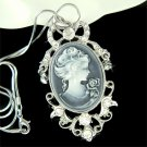 Victorian Swarovski Crystal Black Cameo Antique Pendant Necklace